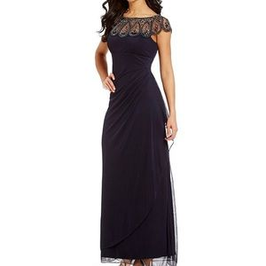 Navy blue cap sleeve formal gown